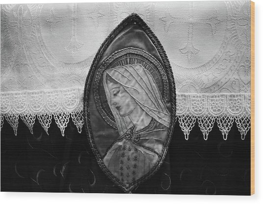 Mary Altar Cloth Wood Print