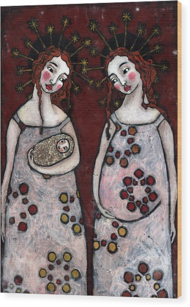 Mary And Elizabeth 2 Wood Print by Julie-ann Bowden