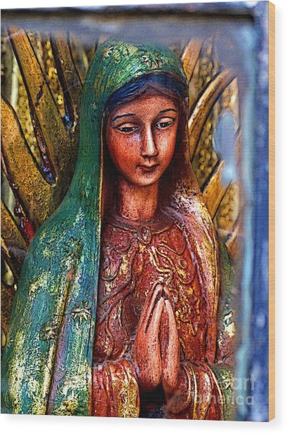Mary In Repose Wood Print