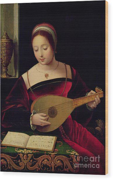Mary Magdalene Playing The Lute Wood Print