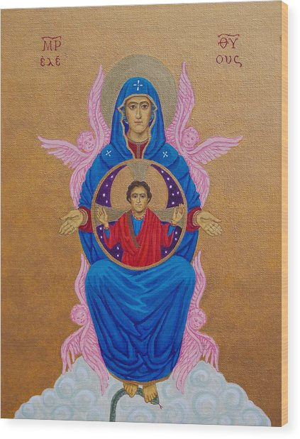 Mary Mother Of Mercy Icon - Jubilee Year Of Mercy Wood Print