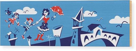 Mary Poppins Flying In Venice Skyline Wood Print by Arte Venezia