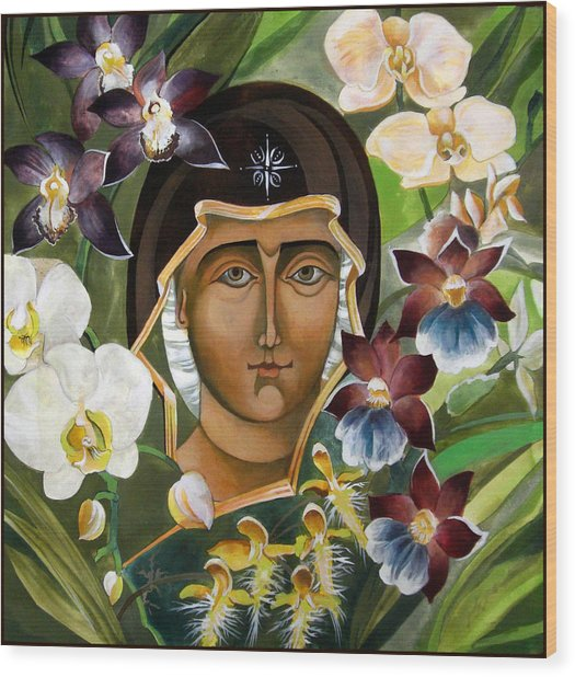 Mary With Orchids Wood Print