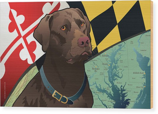 Maryland Chocolate Lab Wood Print