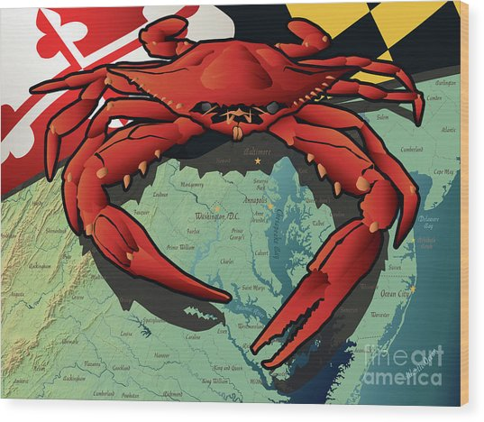 Maryland Red Crab Wood Print