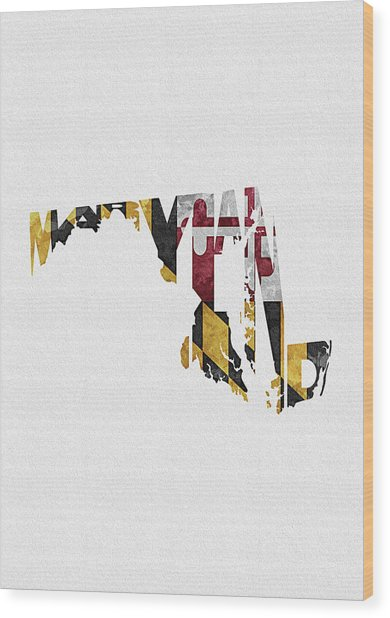 Maryland Typographic Map Flag Wood Print
