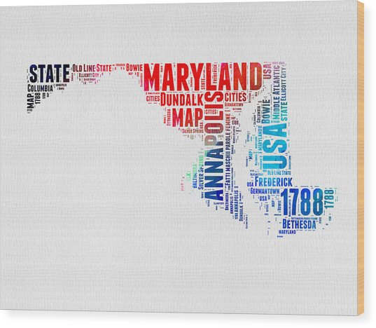 Maryland Watercolor Word Cloud  Wood Print