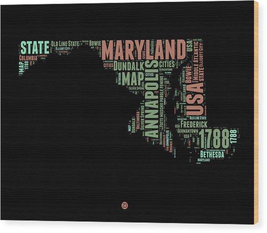 Maryland Word Cloud 1 Wood Print