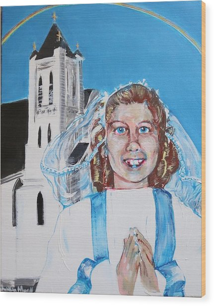 Mary's First Communion Wood Print