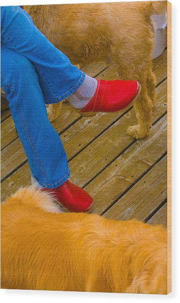 Marys Red Shoes Wood Print by John Toxey