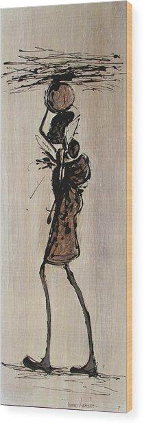 Masai Family - Part 1 Wood Print