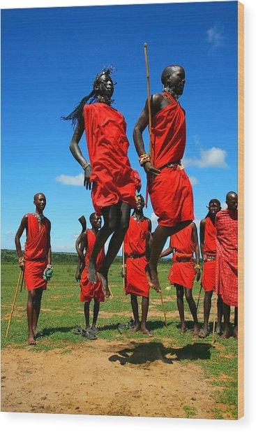 Masai Warrior Dancing Traditional Dance Wood Print