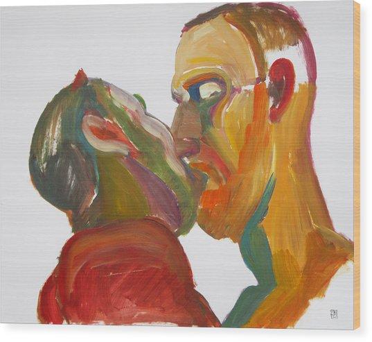 Masculine Kiss Wood Print
