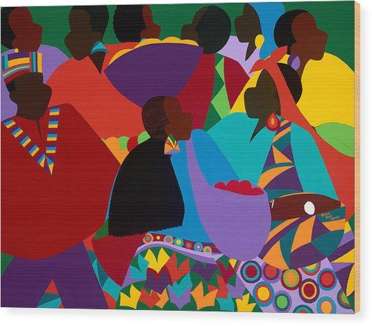 Masekelas Marketplace Congo Wood Print
