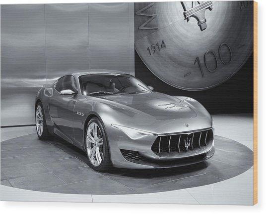 Maserati Alfieri Reflections Mono Wood Print