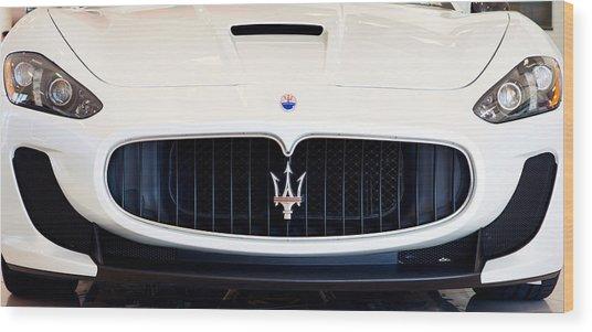 Maserati White Pano 121715 Wood Print