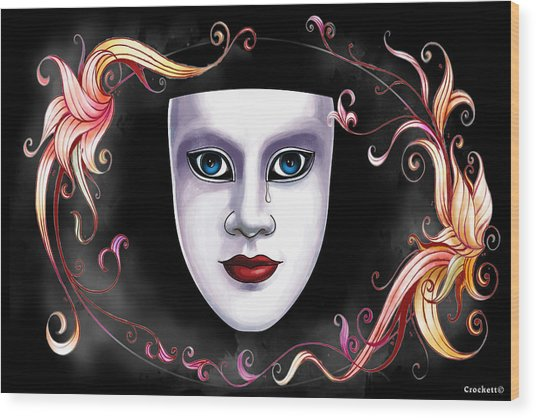 Mask And Vines Wood Print