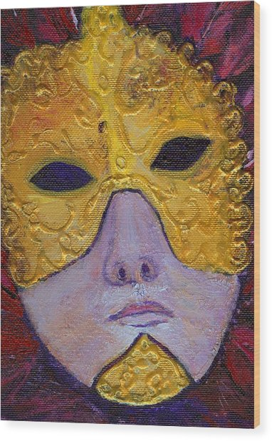 Mask Wood Print by Birgit Schlegel