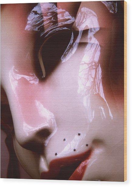 Mask Wood Print by Elizabeth Reynders