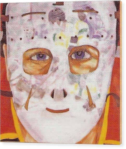 Mask Refection Wood Print by Ken Yackel