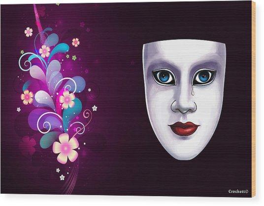 Mask With Blue Eyes Floral Design Wood Print