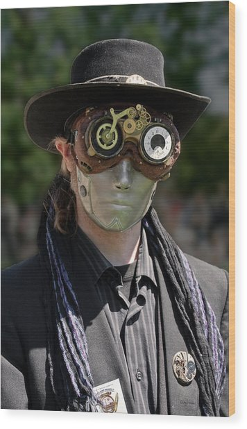 Masked Man - Steampunk Wood Print