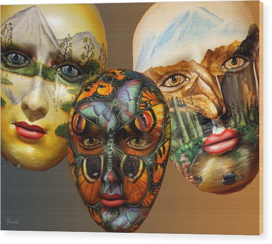Masks On The Wall Wood Print