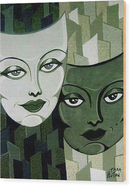 Masks Verde Wood Print