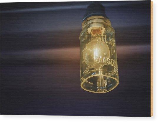 Mason Jar Light Wood Print