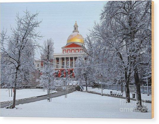 Massachusetts State House In Winter Wood Print by Denis Tangney Jr