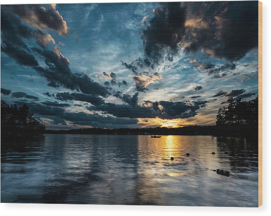 Masscupic Lake Sunset Wood Print