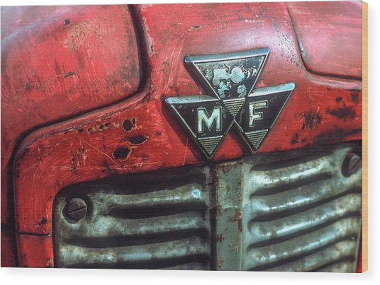 Massey Ferguson Grille And Badge Wood Print