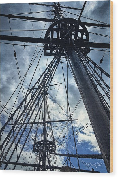 Wood Print featuring the photograph Masts And Rigging by David A Lane