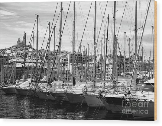 Masts In The Harbor Wood Print by John Rizzuto