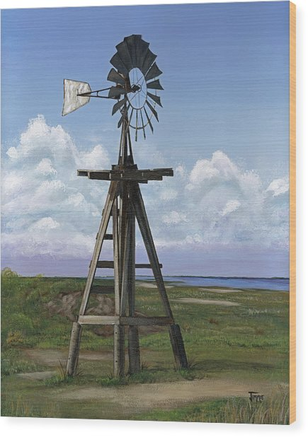 Matagorda Beach Windmill Wood Print