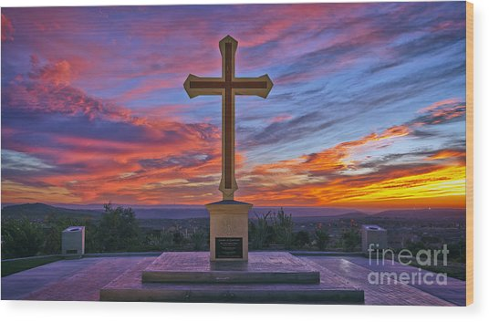 Christian Cross And Amazing Sunset Wood Print