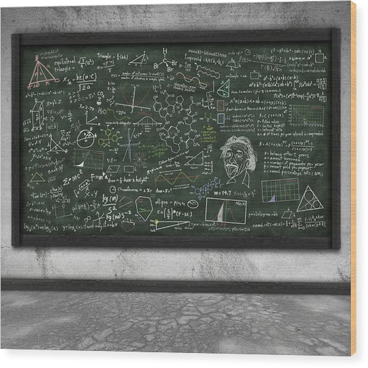 Maths Formula On Chalkboard Wood Print