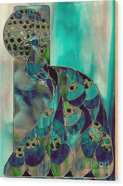 Mating Season Stained Glass Peacock Wood Print