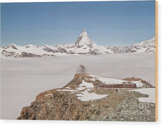 Matterhorn And Fog Wood Print