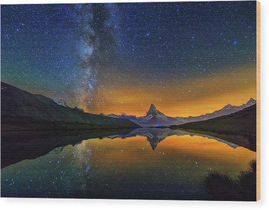 Matterhorn By Night Wood Print
