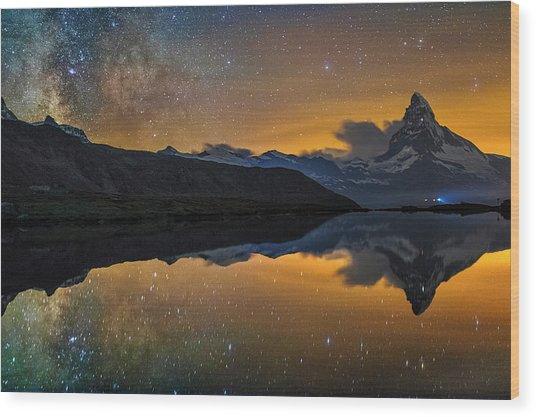 Matterhorn Milky Way Reflection Wood Print