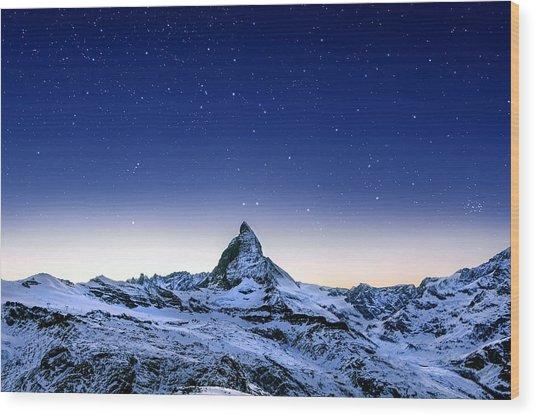 Matterhorn Night Wood Print by Nikos Stavrakas
