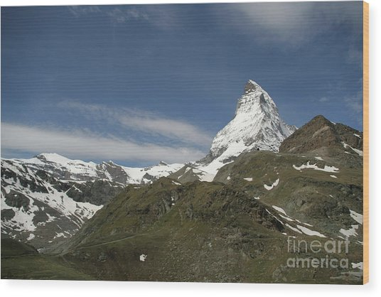 Matterhorn With Alpine Landscape Wood Print