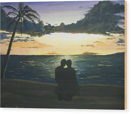 Maui Beach Sunset Wood Print