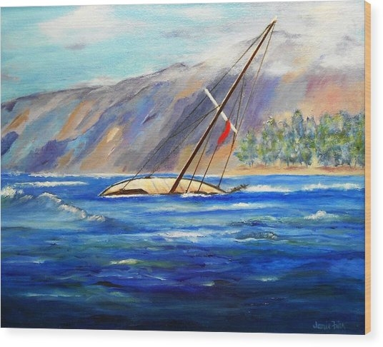 Maui Boat Wood Print