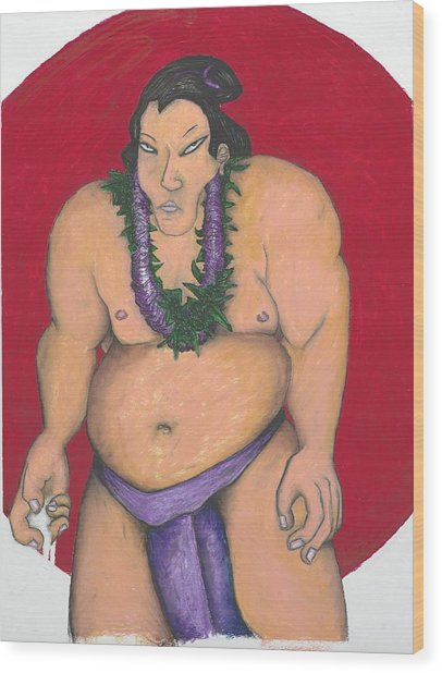 Maui Sumo Wood Print by Billy Knows