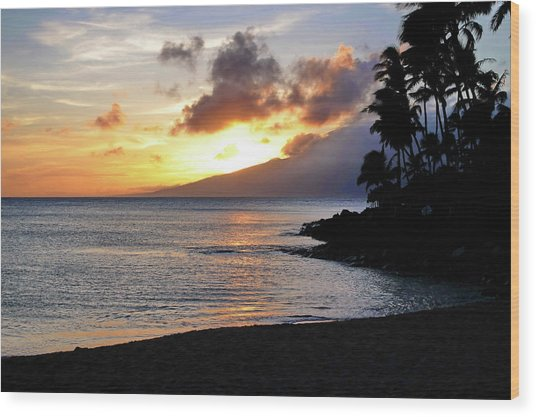 Maui Sunset Aglow Wood Print