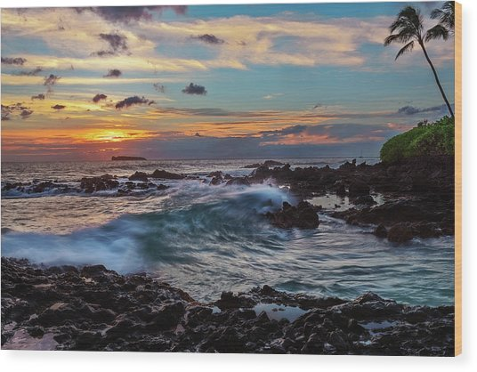 Maui Sunset At Secret Beach Wood Print