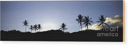 Maui Sunset Palm Tree Silhouettes Wood Print by Denis Dore