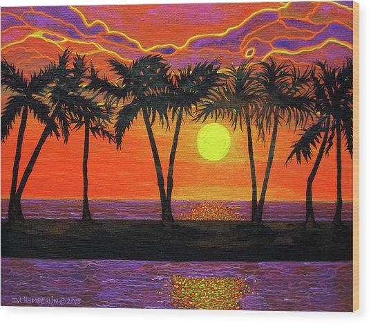 Maui Sunset Palm Trees Wood Print
